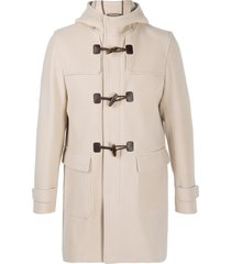 herno toggle buttons hooded coat - neutrals