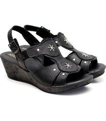 sandalia de cuero negra valentia calzados brenda uxia