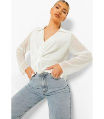geknoopte dobby mesh blouse met laag decolleté, white