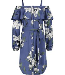 josh v strapless jurk model renay kleur paradiso flower ocean blue