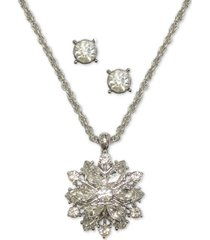 charter club silver-tone crystal snowflake pendant necklace & stud earrings set, created for macy's