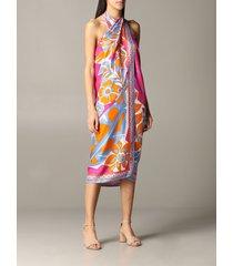 emilio pucci dress emilio pucci sarong dress in silk twill with samoa print