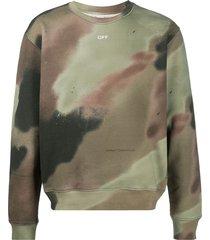 off-white arrows logo camouflage print sweatshirt - green