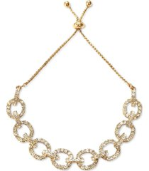 inc gold-tone crystal chain link slider bracelet, created for macy's