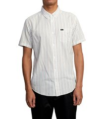 rvca cassidy stripe short sleeve button-down shirt, size medium in antique white at nordstrom