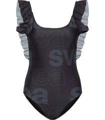 w. ruffle swimsuit baddräkt badkläder svart svea