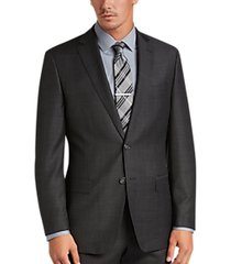 calvin klein charcoal plaid modern fit suit