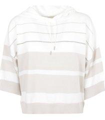 fabiana filippi stripe hooded sweatshirt