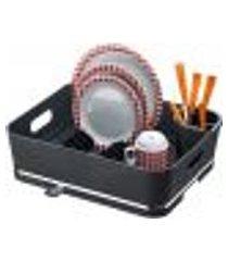 escorredor de louça pratos plástico porta talheres bancada preto
