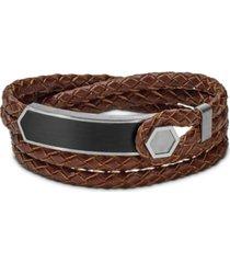 bulova men's brown braided leather wrap bracelet in stainless steel, j96b009m