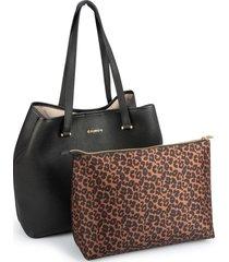 bolsa sacola dumond grande com necessaire grand preta - kanui
