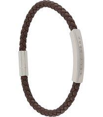 boss woven logo-plaque bracelet - brown