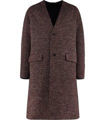 kenzo double face mixed wool coat