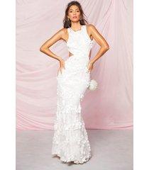 3d uitgesneden maxi-jurk met bloemenprint, ivoor