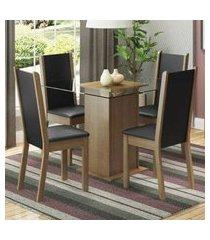 conjunto sala de jantar madesa giulia mesa tampo de vidro com 4 cadeiras rustic/preto/sintético preto rustic