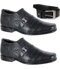 kit 2 pares de sapato social infantil e 1 cinto couro leoppé - masculino
