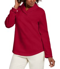 karen scott petite shawl-collar sweatshirt, created for macy's