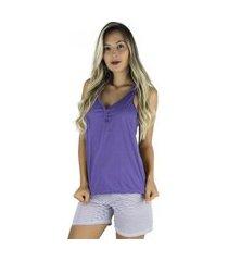 pijama mvb modas curto adulto feminino blusa e short com laço roxo