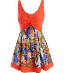 tropical print twisted empire waist tankini swimwear