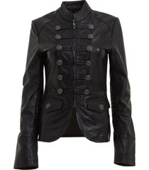 womens military style leather blazer /jacket, womens outerwear, leather jacket