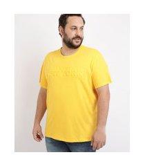 """camiseta masculina plus size new york"""" manga curta gola careca amarela"""""""