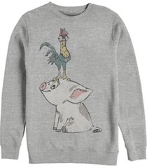 disney men's moana hei hei on top of pigs head, crewneck fleece