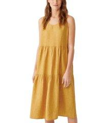 eileen fisher organic linen tiered sleeveless dress