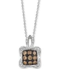 "le vian chocolatier diamond square cluster 18"" pendant necklace (1/2 ct. t.w.) in 14k white gold"