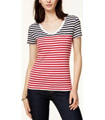 tommy hilfiger striped v-neck t-shirt, created for macy's