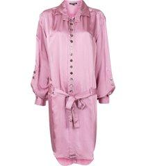 ann demeulemeester belted shirt dress - pink