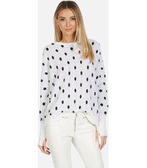 charleston le cashmere pullover - creme/black l