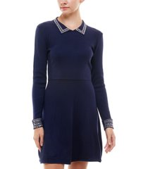 rosie harlow juniors' embellished polo fit & flare dress