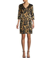 eastern luxe muni jacquard metallic sheath dress