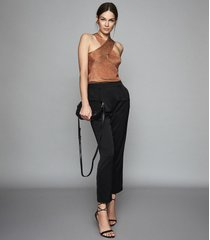 reiss reese - pleat front tapered trousers in black, womens, size 10