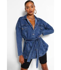 denim longline oversized belted jacket, mid blue