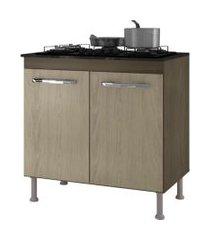balcáo para cooktop 4 bocas catarina 2 portas castanho/avelá - ajl móveis