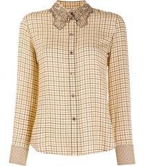 chloé western-inspired check-pattern shirt - neutrals