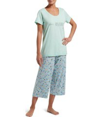 hue women's plant positivity t-shirt & capri pants pajama set