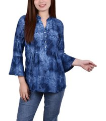 petite 3/4 bell sleeve pleat front y-neck top