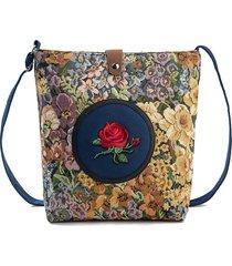 donna borsa a spalla con tracolla in tela in jacquard floreale ricamata con rosa a grande capacità