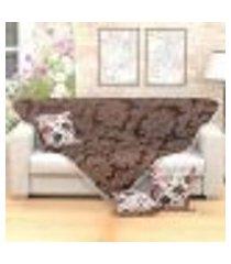 manta para sofá clássica tabaco 1,50m x 1,50m + 3 almofadas decorativas 45cm x 45cm com refil