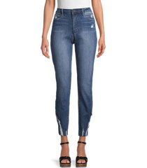 articles of society women's rene high-rise distressed straight jeans - blue - size 28 (4-6)