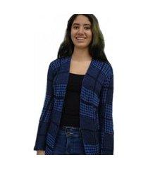 casaqueto bon alongado em tricô vazado preto e azul