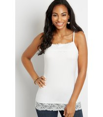 maurices womens solid lace nylon layering tank white