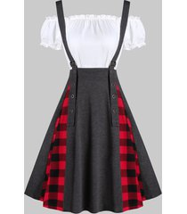 plaid print buckle strap suspender skirt and plain top