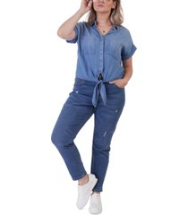 black tape plus size chambray tie-front shirt