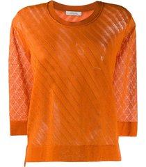 dorothee schumacher 7/8 sleeve round neck pullover - orange
