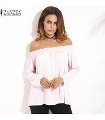 zanzea camisas con hombros descubiertos 2018 primavera blusas de mujer casual elegante slash neck manga larga blusas sólidas tops tallas grandes de gran tamaño rosa -rosado