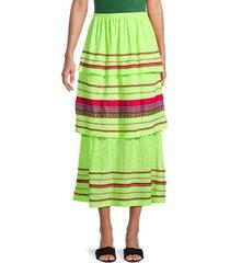 pitusa women's peruvian striped midi skirt - lemon - size standard (m-l-xl)