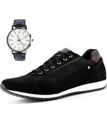 sapatênis casual neway florense preto + relógio